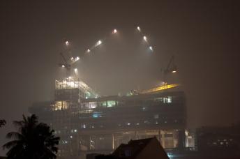 Hazy construction site